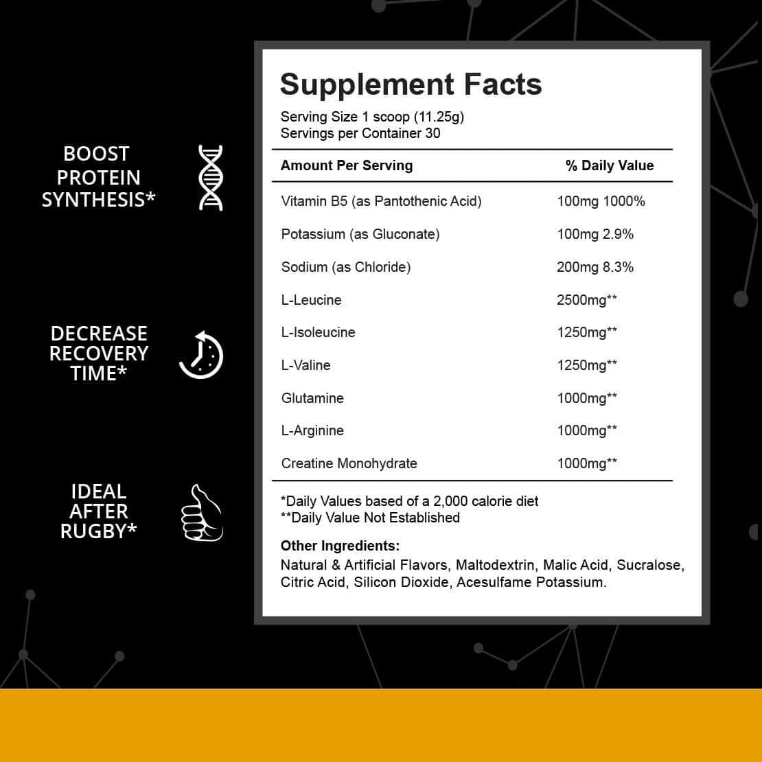 post rugby supplement facts