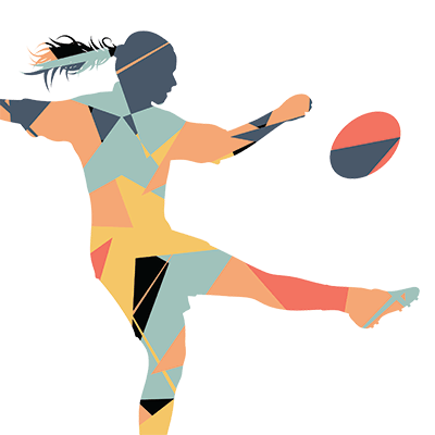 female rugby player cartoon