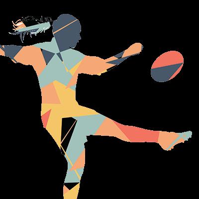 female rugby player cartoon
