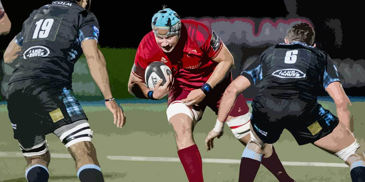 rugby player using shoulder